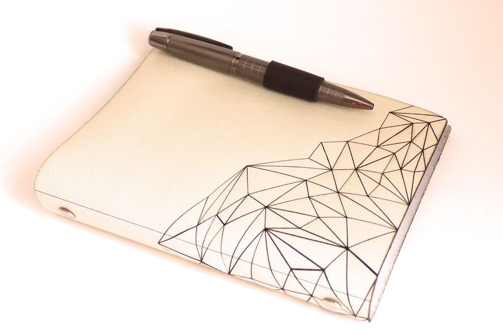 Laser engraved leather diary.